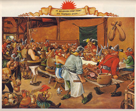 """Asterix bei den Belgiern, Stuttgart 1979, S. 47. Man kann hier deutlich die Adaption der """"Bauernhochzeit"""" von Pieter Brueghel d.Ä. erkennen."""