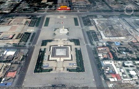 Der Tiananmen-Platz aus der Perspektive von Google Earth, Screenshot 2008
