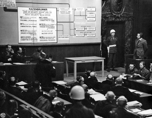 Otto Ohlendorf (rechts), ehemaliger Befehlshaber der Einsatzgruppe D, als Zeuge vor dem Nürnberger Hauptkriegsverbrecherprozess, 3. Januar 1946.