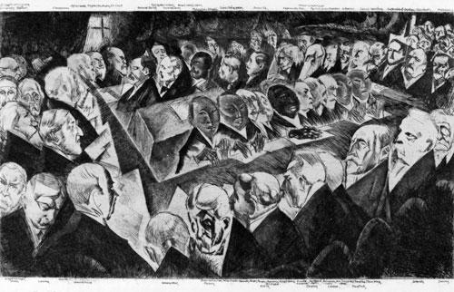 """Überreichung des Friedensvertrags in Versailles, Hotel """"Trianon Palace"""", 7. Mai 1919. Druckgrafik von Walther Hammer, Leipzig 1919."""