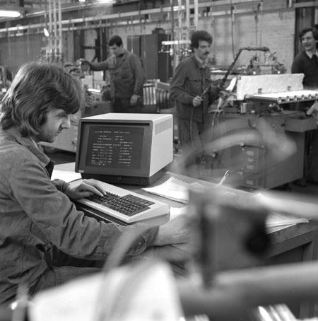 Werkhalle des Unternehmens Buderus (Blechverarbeitung und Heizkesselhersteller), 1979