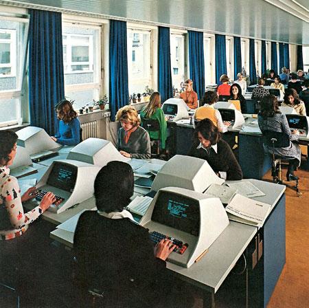 Großraumbüro der Württembergischen Feuerversicherung Stuttgart, Mitte der 1970er-Jahre