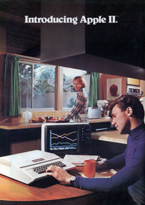 This 1977 American print advertisement introduced the Apple II, one of the first mass-market computers. Not all such presentations exhibited the traditional gender stereotyping shown here, but most relied on pre-existing visual clichés of domesticity to affirm the computer as reassuringly connected to everyday life.