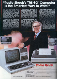 Advertising for the TRS-80 microcomputer in the USA relied on endorsements from Isaac Asimov. The choice of a 'renowned science and science-fiction author' usefully bridged the gap between the futuristic connotations which still inevitably attached to computers around 1980, and an everyday task (word processing) to which the machines would be put in reality. Some rival campaigns similarly evoked the scientific future through their choice of spokesman: Star Trek's William Shatner promoted Commodore. A contrasting strategy was demonstrated by Texas Instruments' use of Bill Cosby, a high-profile comedian with a non-technical, likeable everyman persona.