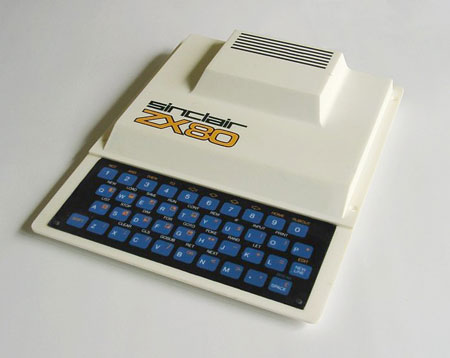 The Sinclair ZX-80. The white casing departed (for reasons of cost and convenience) from Sinclair's preference for conveying futuristic appeal through a uniform matt black finish, previously seen on the 'Black Watch' digital wristwatch of 1975.
