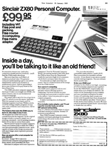 Print advertisement for the ZX-80. The promotional copy varied depending on the intended audience. This version, from the popular-science magazine New Scientist, positions the computer as an 'old friend' and makes reference to children's education, elements which were not included in versions aimed at electronics hobbyists.