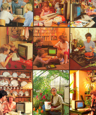 This matrix of images appeared on the retail packaging box for the Acorn Electron, an attempt by the BBC Micro's manufacturer                      to enter the lower cost market defined in the UK by Sinclair and Commodore. Where the BBC Micro's marketing had focused on                      education, the Electron was presented as more of an all-purpose machine for home use. Variations on the 'domestic setting'                      theme are multiplied to an extreme level.(James Sumner, personal collection)