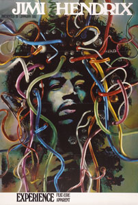 This poster of 1968/69 shows how Jimi Hendrix and his progressive rock music were introduced to German audiences as a form of art.