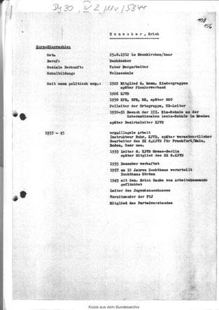 Kaderakte Erich Honeckers
