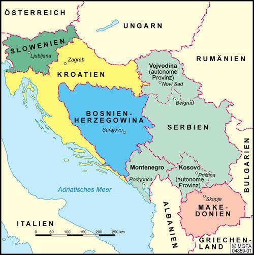 Karte von Jugoslawien 1990