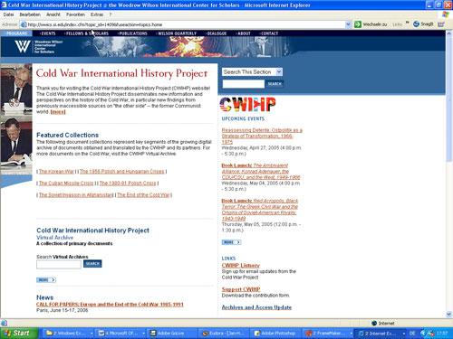 Startseite des CWIHP (April 2005)