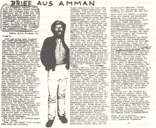 """""""Brief aus Amman"""" von Dieter Kunzelmann aus """"AGIT 883"""" vom 27.11.1969"""