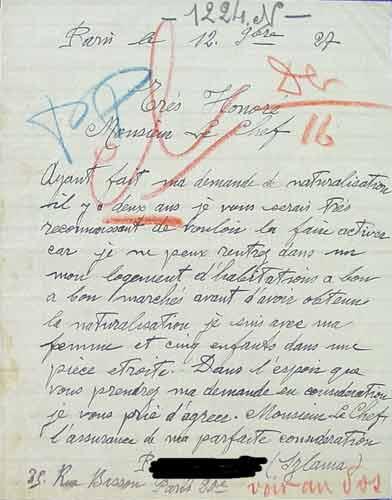 Schreiben des einbürgerungswilligen Szlama P. an die Polizeipräfektur vom 12.11.1927