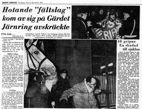 Drohende 'Feldschlacht' fand nicht statt. Polizeiriegel schreckte ab, heißt es zu den Stockholmer Konflikten an Weihnachten 1967
