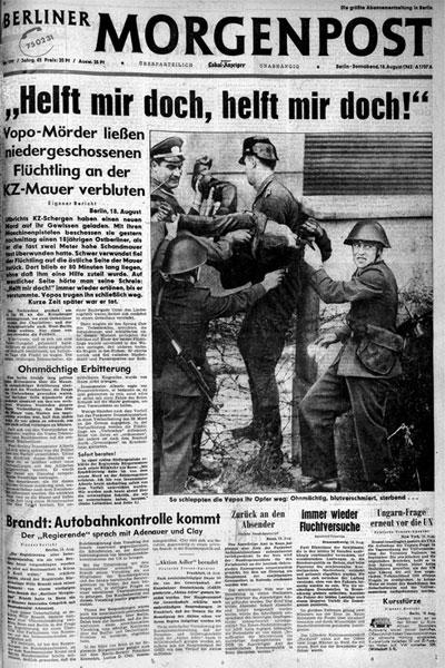 Titelseite der 'Berliner Morgenpost' vom 18.8.1962