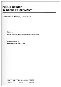 Buchcover von 'Public Opinion in Occupied Germany. The OMGUS Surveys, 1945-1949.'