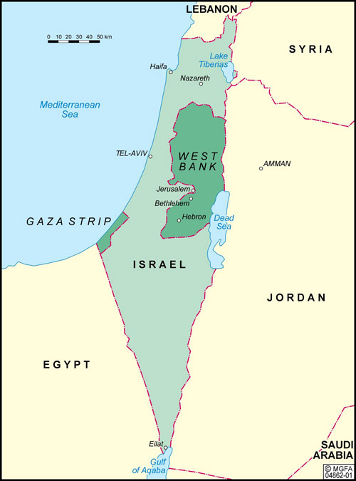 Map of Israel and the Middle East after 1967