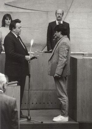 Ministervereidigung von Joschka Fischer, Holger Börner, Wiesbaden 1985
