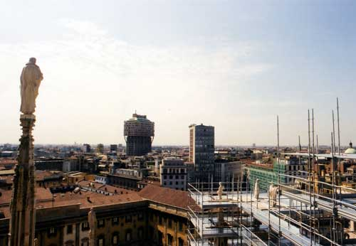 Milan, Torre Velasca, view from the Duomo