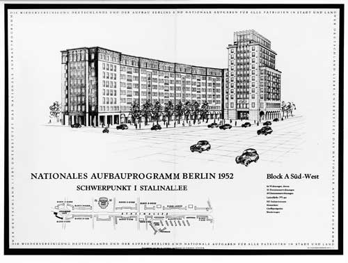 Berlin (East), Stalinallee, Block A, lithography, 1952