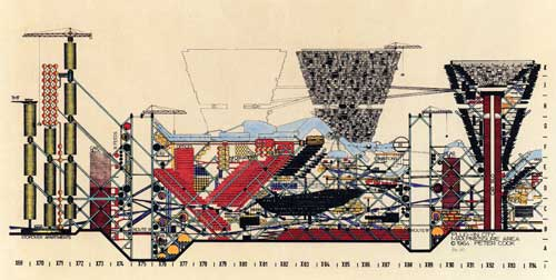 Plug-In City, axonometric drawing, 1962-1964