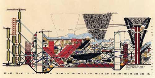 Plug-In City, axonometric drawing, 1962-1964