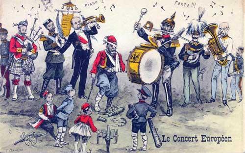 """""""Das europäische Konzert"""". Französische Postkarte vom Vorabend des Ersten Weltkrieges"""