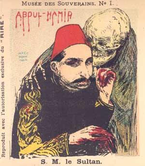 """""""Abdülhamid II., der blutige Sultan"""". Wiedergabe einer Zeichnung aus der französischen Satirezeitschrift """"Le Rire"""""""