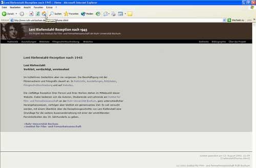 Website Leni Riefenstahl-Rezeption (Screenshot April 2004)