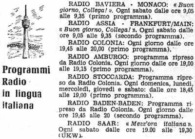 Sendezeiten der italienischsprachigen Sendungen im 'Corriere d'Italia'