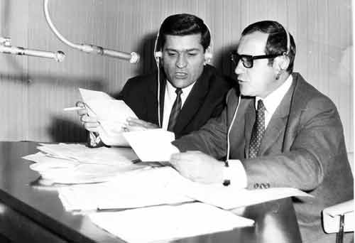 Mario Cerza (links) und Gualtiero Guidi, italienische Redaktion beim Bayerischen Rundfunk (April 1968)