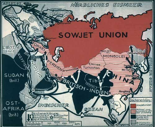 Karte: 'Die Einkreisung der Sowjetunion durch den Britischen Imperialismus'