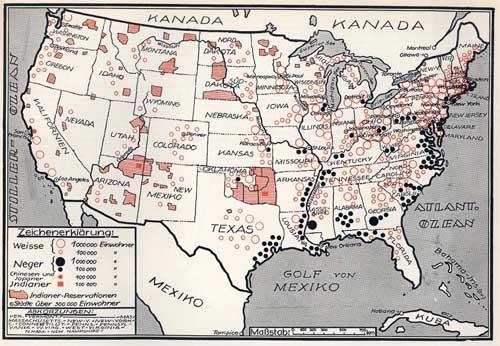 Karte: Nationalitäten in den Vereinigten Staaten von Amerika