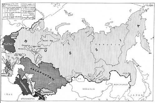 Karte: Die Lösung der nationalen Frage in der Sowjetunion