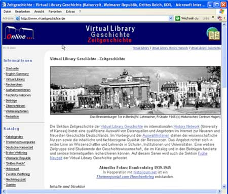 Startseite der Virtual Library Zeitgeschichte (Dezember 2003)