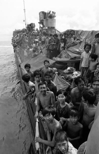 Vietnamesische Flüchtlinge auf dem Deck des Frachters »Hai Hong«.